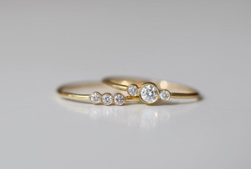 Alianzas de boda con diamantes heredados, de MIGAYO
