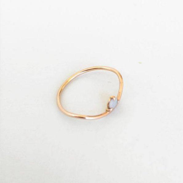 Anillo de pedida opalo en oro rosa - Migayo