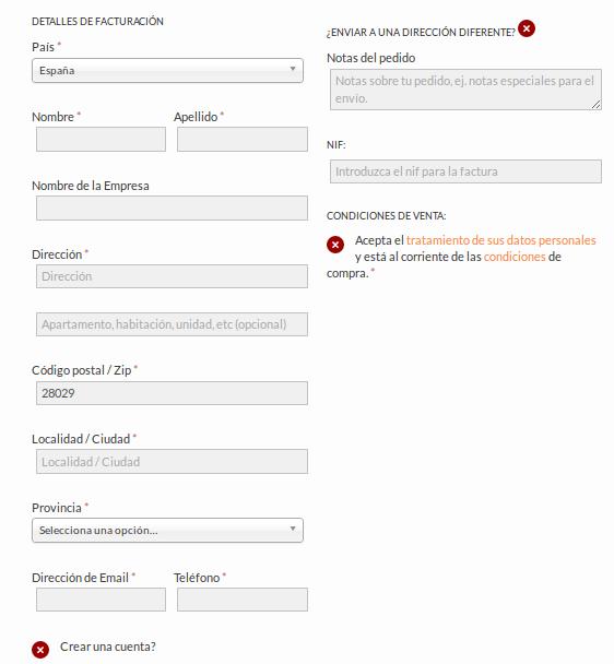 Formulario para la entrega y facturación